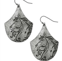 Horse Equestrian Drop Dangle Earrings Silver Tone - $16.99