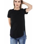 Salt Tree Women's Basic Crew Neck Short Sleeves Side Split Contour Hem T... - $7.99