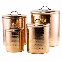 Hammered Copper 4Pc Canister Set Dry Goods Kitc... - $59.83