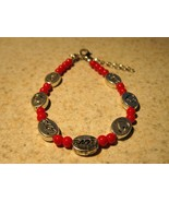 BRACELET SILVER LOVE HEARTS & RED CORAL BEADS #593 - $9.99