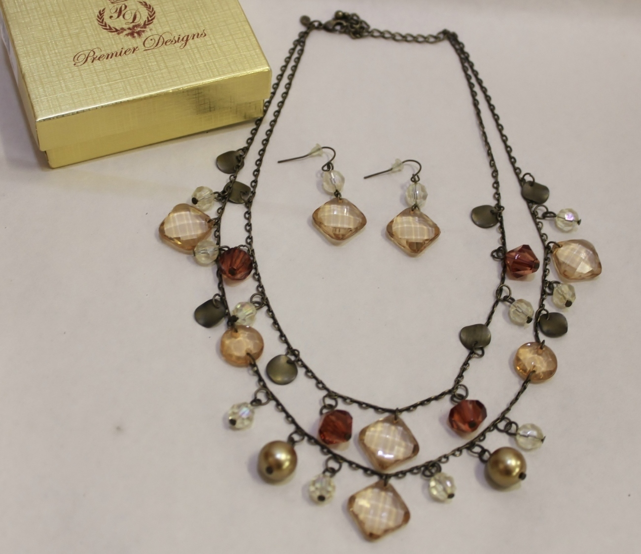 Premier Designs Tuscany Earth Two Layer Necklace Earrings