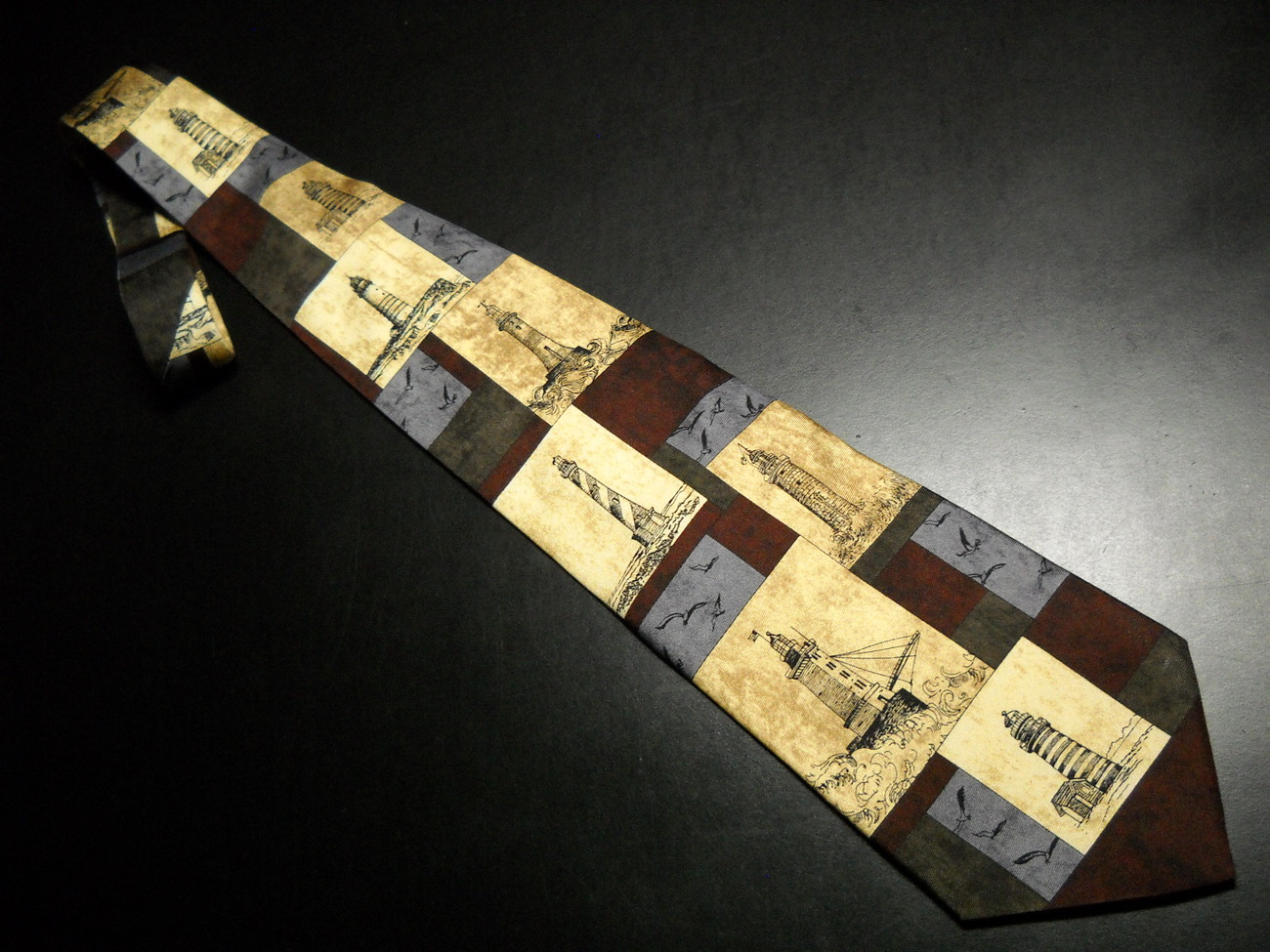 Eagles Wings Neck Tie Lighthouse and Seagull Sketches on Blues Golds Browns Silk