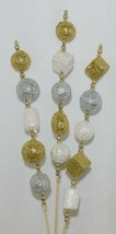 Tii Collections G1962 Gold White Silver Glitter Ball Beaded Floral Spray 25 Inch image 2