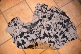 TANGO MANGO GREY BLACK TIE DYE TUNIC SHORT SLEEVE DRESS L ASYMMETRIC RAGLAN - $27.00