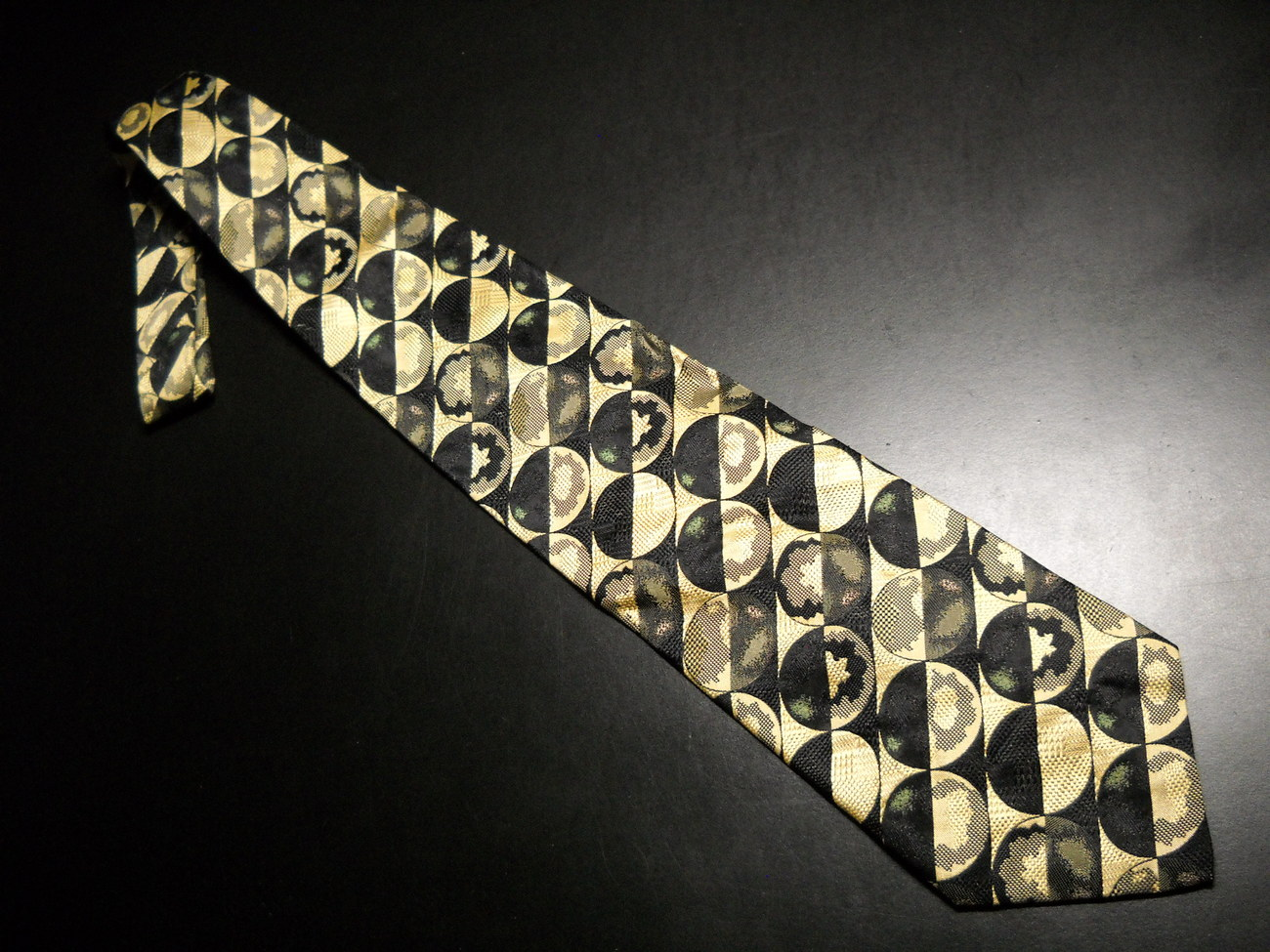 Tie emanuele cravatte limited edition black golds with pale green highlight accents 05