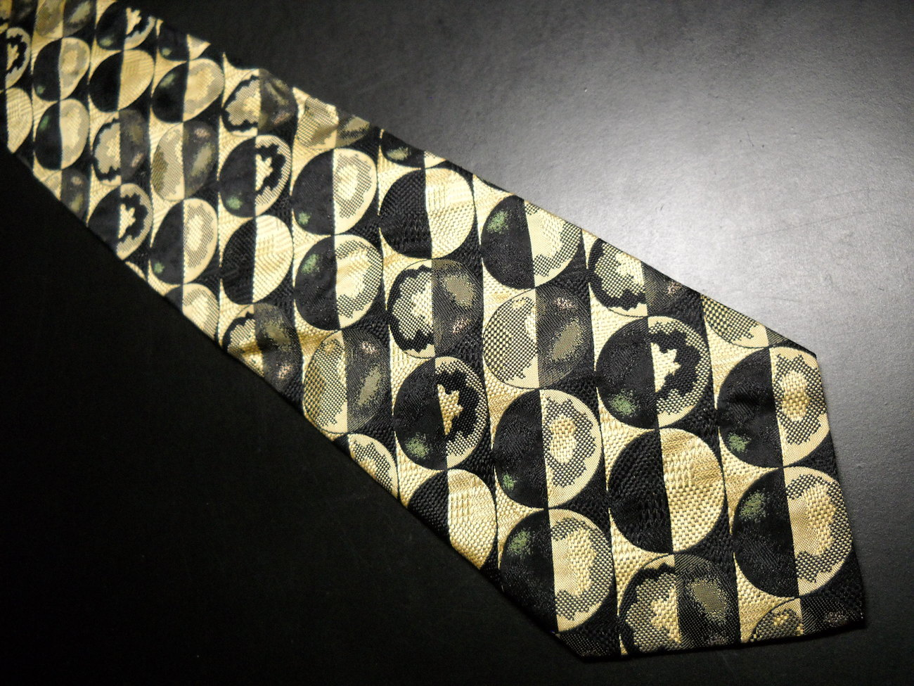 Emanuele Cravatte Neck Tie Italian Gold and Black Limited Hand Made in Italy