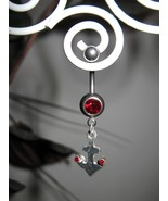 BELLY NAVEL RING RED RUBY ANCHOR #535B - $7.99