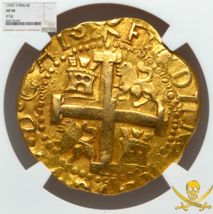 PERU 1747 likely LA LUZ 8 ESCUDOS NGC58 PIRATE GOLD COINS SHIPWRECK TREA... - $16,500.00