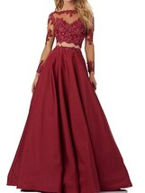 Long Sleeve Lace Evening Party Dress Formal Gown Two Pieces Prom Dress L... - $127.89