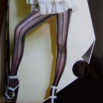 Pantyhose Leggings Metallic Thread Stripe Style Black  - $24.90