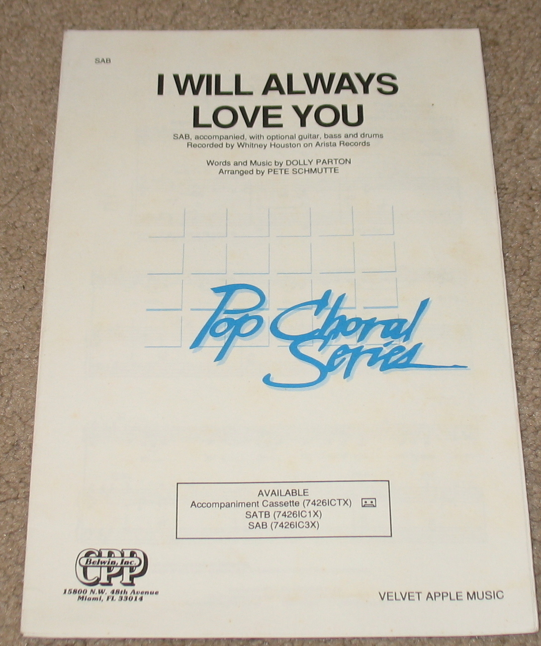 I Will Always Love You Sheet Music Choral Whitney Houston