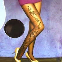 Luxury Sexy Chamonix Floral Tights Pantyhose 20D Black - $24.90