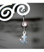BELLY NAVEL RING DIAMOND CRYSTAL ANCHOR #535C - $7.99