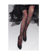 Pantyhose Stockings Black Color with Red Lip Printed - $19.90