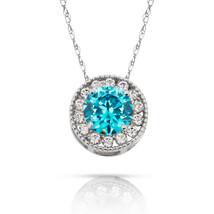 1.90Ct Created Diamond & Topaz Round Halo Charm Pendant 14K W Gold w/ Chain - $69.28+
