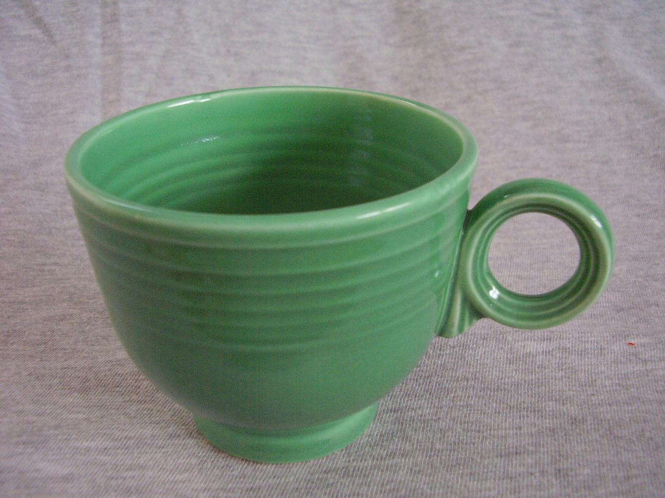 Vintage Fiestaware Original Green Ring Handle Teacup D