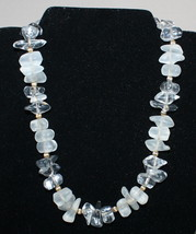 "16"" Vintage Signed Napier Clear Opaque Frosted Lucite Bead Choker Necklace - $14.36"
