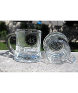 2 New Embossed Licor 43 Mini Mug Shot Glasses 2 oz Heavy made of glass - $19.75