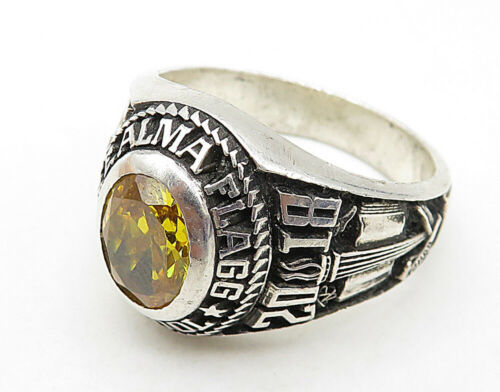 LOLNIER 925 Sterling Silver - Yellow Topaz 2018 Class Ring Sz 9 - R7461