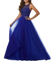 Women's Floor Length Beaded Tulle Evening Prom Dress A-line Formal Ball ... - $145.99+