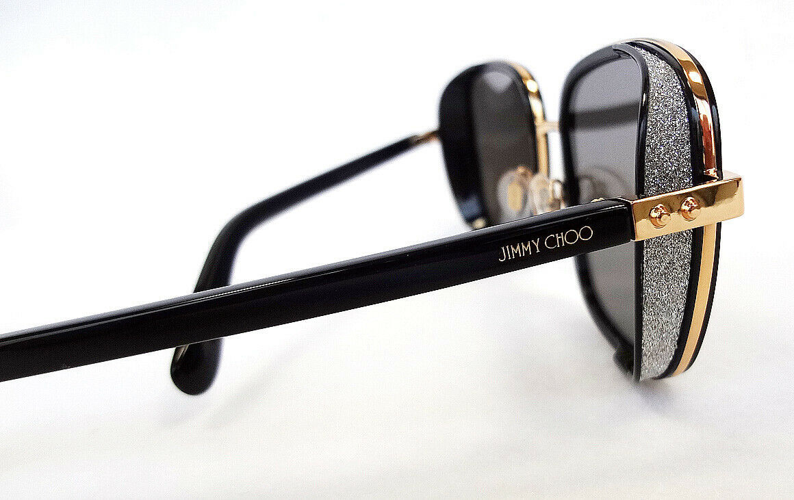 JIMMY CHOO Women's Sunglasses ELVA/S 2M2 Black/Gold Rectangular 130 ITALY - New!