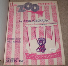 The Zoo Parade Sheet Music - 1957 - Piano Solo w/ Words - $8.99