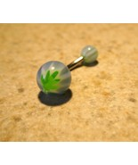 BELLY NAVEL RING LIGHT BLUE W/GREEN LEAF DESIGN #316F - $4.99