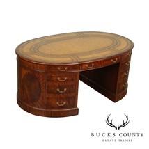 Maitland Smith Mahogany Leather Top Oval Partners Desk - $3,295.00