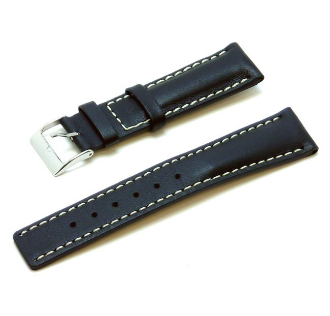 Breitling Style Calf Leather Watch Band - Black - 20mm