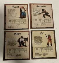 Heroquest Replacement Parts Elf Barbarian Dwarf Wizard Character Cards - $28.04