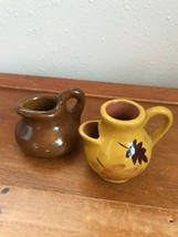 Lot of 2 Miniature Brown Glazed & Yellow w Leaves Pottery Pitchers – yel... - $15.79