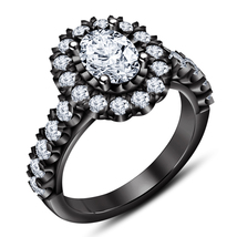 Oval Cut Diamond Womens Engagement Ring 14k Black Gold Finish 925 Solid ... - £62.93 GBP