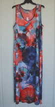 NWT AVENUE 22 24 Red White Blue Floral Stretchy Pullover Maxi Dress Blin... - $29.95