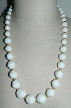 VTG Gold Tone White Faceted Lucite Plastic Graduated Bead Necklace - $19.80