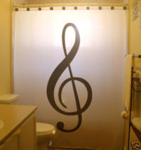 SHOWER CURTAIN music Treble Clef notes name staff new - $65.00