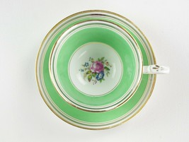 Paragon Green w Cabbage Rose Floral Cup & Saucer Set 1923 Star Mark Gold F397 #1 - $49.00