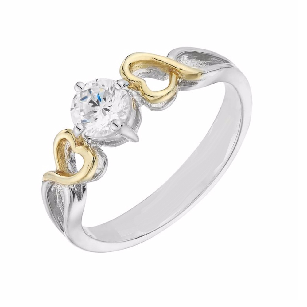Round Simulated Diamond Solitaire Engagement Ring in 14k Two Tone Gold Fn S925