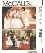 McCall's 7192 Dollhouse Doll Family and Clothes Pattern - $8.95