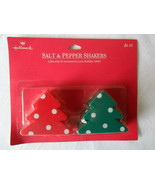 HALLMARK Salt and Pepper Shakers Red/Green Polka Dot Christmas Tree New ... - $3.95