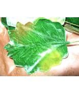 Vintage Millinery Flower Green Velvet Lotus Lea... - $9.64