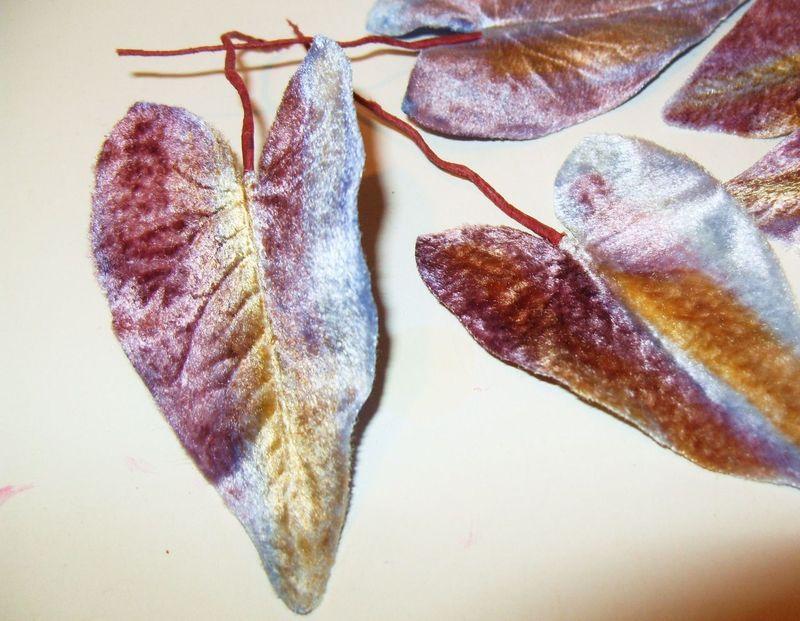 Vintage Millinery Flower Petal Leaf PURPLE OMBRE VELVET 1940's Heart Shaped Lot - $10.88