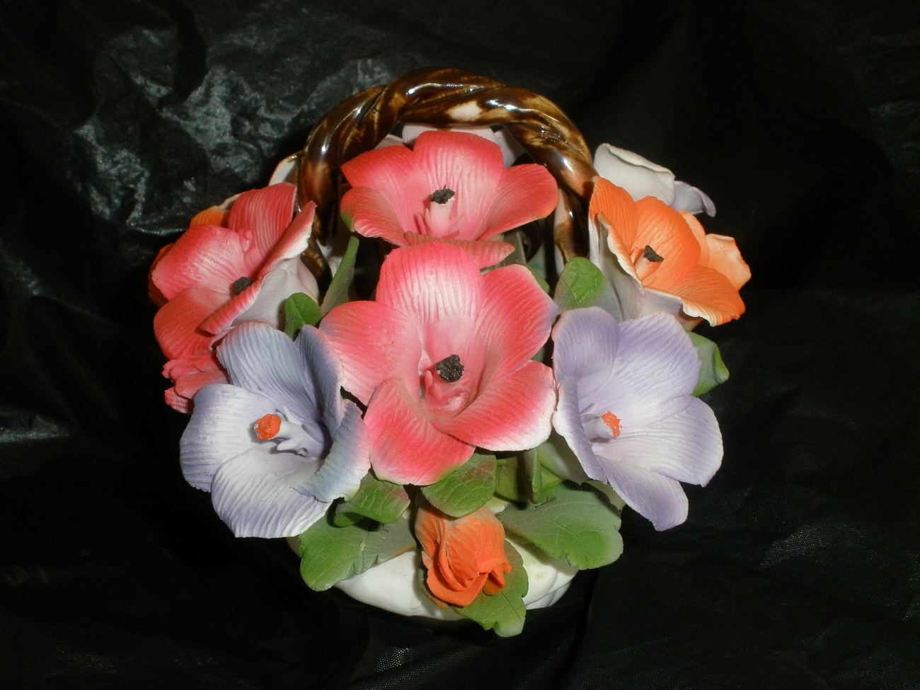 Ceramic Basket with Colorful Flowers