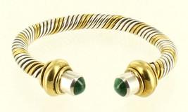 Vintage Sterling 2 Tone Silver & Gold Tone Heavy Twist Malachite Cuff Bracelet 6 - $157.49