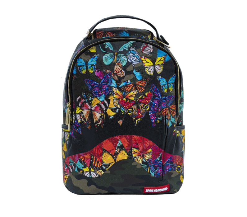 86f7007b5061f 57. 57. Previous. Sprayground Butterfly Camo Shark Mouth Urban School Book  Bag Backpack 910M1640
