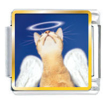 9mm Angel Cat Photo Italian Charm - $2.00