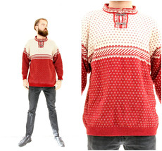 Nordic Knitted Traditional Sweater Scandinavian Metal Clasps Pullover M L - $49.90