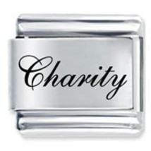 9mm CHARITY Laser Name Italian Charm ( F ) - $1.99