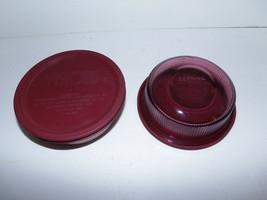 2 Vintage Corning Vision Ware Glass Ribbed 1pt Bowls w Lids Cranberry Set C-16-B - $34.60