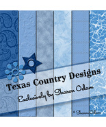 Digital Scrapbooking Paper in Shades of Blue - $3.50