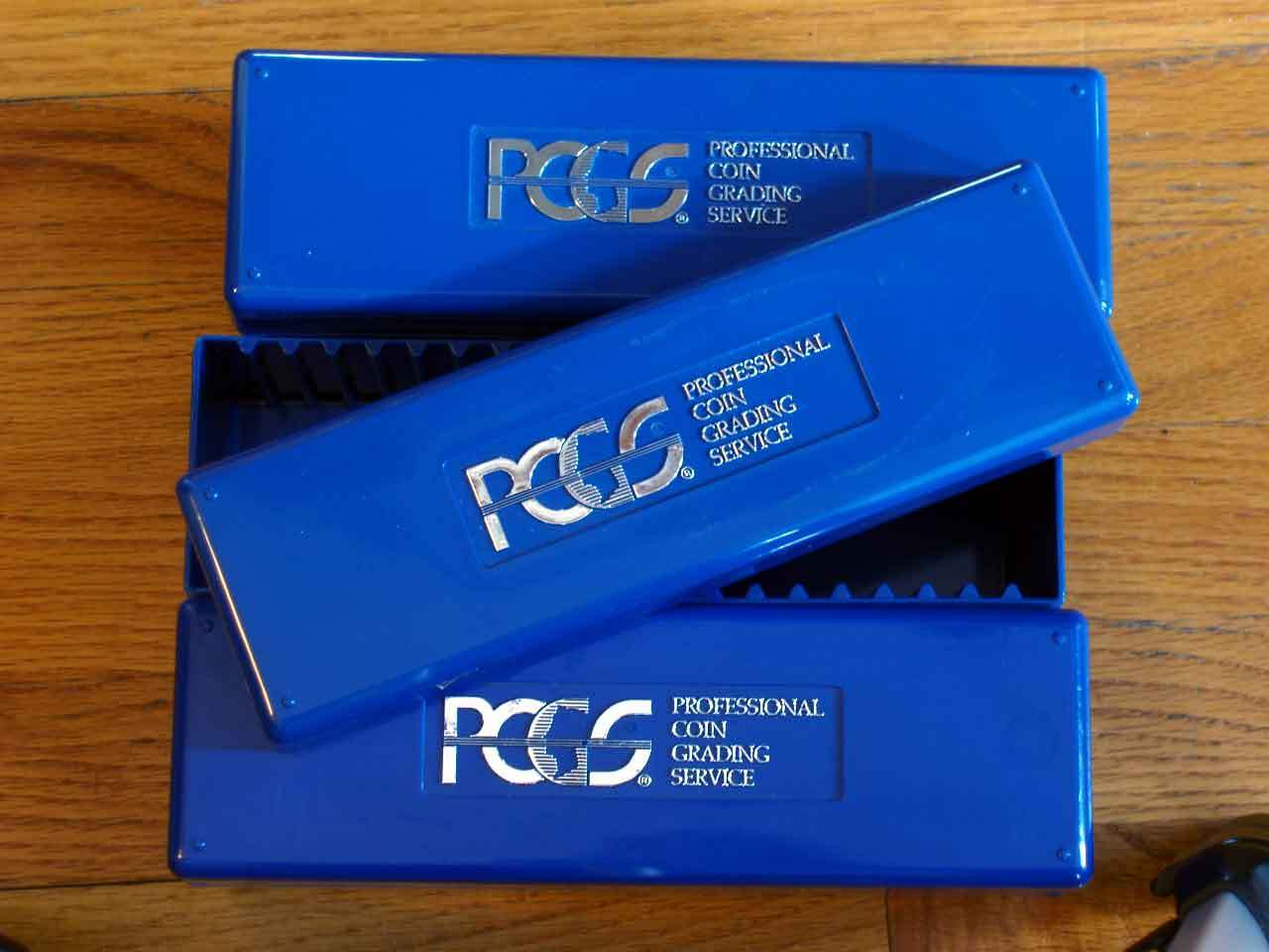 4 Lightly Used - PCGS - Blue Storage Boxes